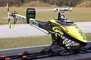 SAB Goblin with F3C skids secured by Random Heli Skid Clamp model STC6377LP