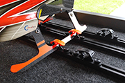 SAB Goblin 500 secured to T-Track using Skid Clamps
