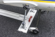 Handles attached to Gladiator Gear Track make it easy to load and unload the RC Airplane while it's secured