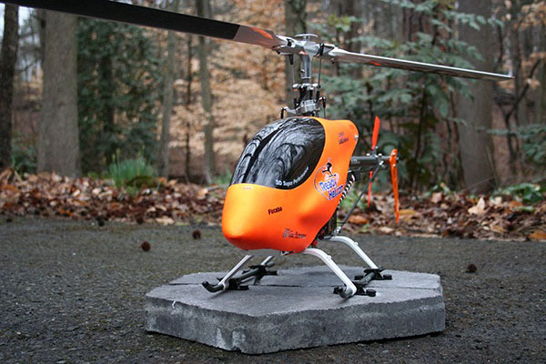 RC Helicopter mounted on masonry