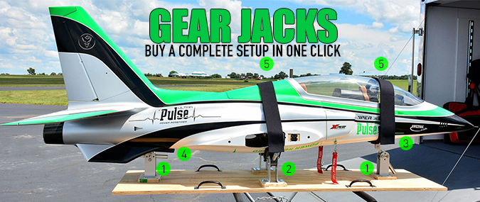 Random Heli Gear Jack models for transporting RC airplanes