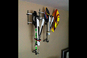 RC Helicopters mounted on a wall using Random Heli Skid Clamps