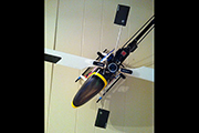 Trex 500 RC Heli mounted to wall using skid clamps