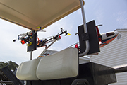 RC Helicopter mounted on Golf Cart using Skid Clamps