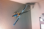 Align Trex 500 RC helicopter mounted to wall using Skid Clamps