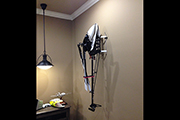 Skid Clamps hold RC helicopter for wall mounting