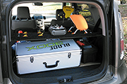 RC Heli Transport platform for KIA Soul uses Skid Clamps to secure helis