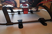 Skid Clamps secure Quad copter to RC transmitter case.